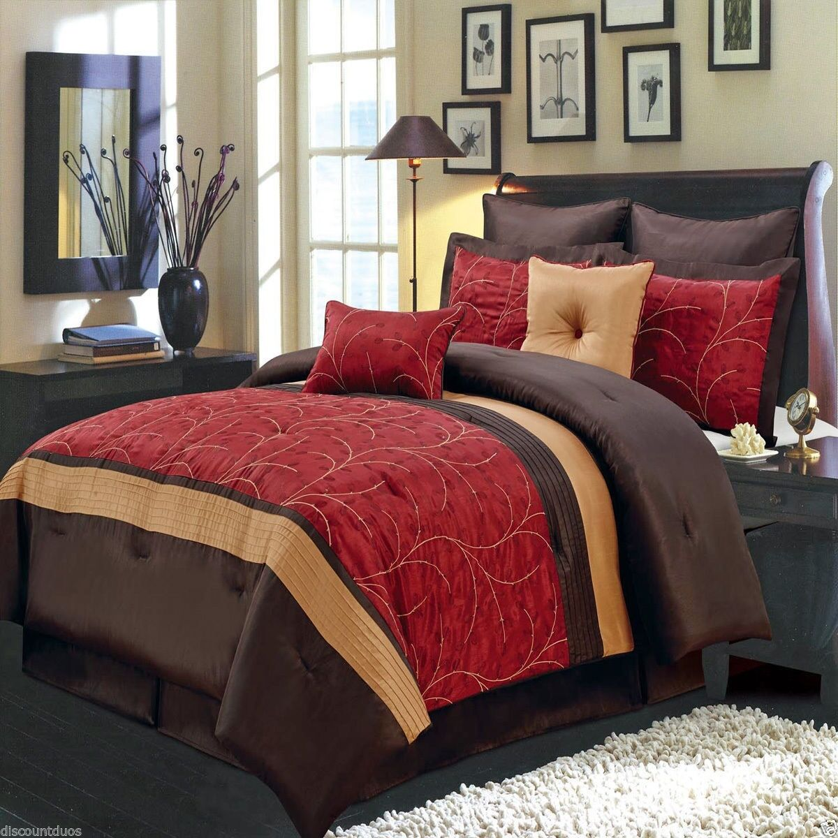 8pc Luxury rot Gold & braun Bedroom Comforter Set AND Deco Pillows - ALL GrößeS
