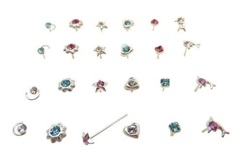 24 Plata Esterlina Mixtas Diseño Color piercings para nariz piercing del cuerpo joyería En Caja