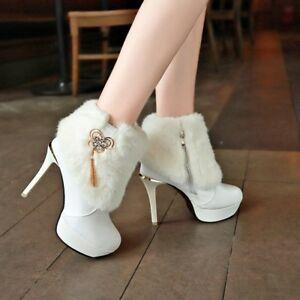 Women-039-s-Winter-Faxu-Fur-Warm-Ankle-Boots-Round-Toe-Platform-Stiletto-Shoes-Pumps