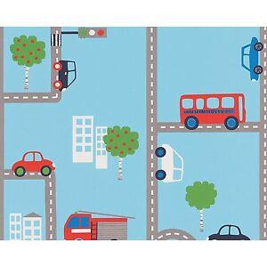 Blue Transport Wallpaper Rolls 93632 1 Cars Buses Kids Bedroom Ebay