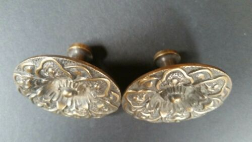 """2 ANTIQUE SOLID BRASS SCREW ON LARGE ROUND KNOBS FLORAL DESIGN 2/"""" dia #Z27"""
