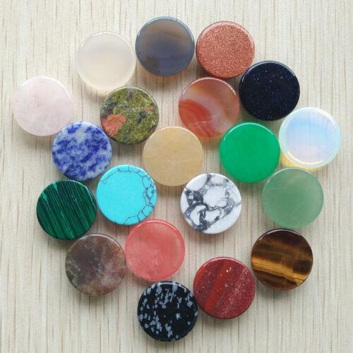 Fashion natural stone mixed round shape CABOCHON Beads 20pcs//lot wholesale 20mm