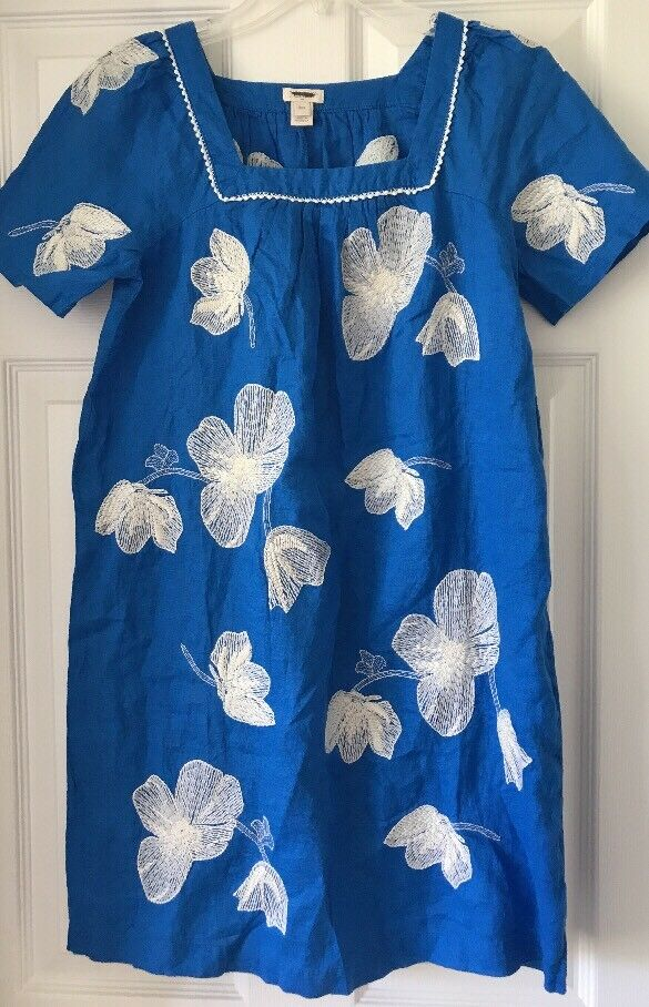 J Crew Factory Womens Linen Embroidered floral dress XXS G5314 bluee White 2XS