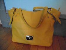 """VALENTINA shoulder bag ITALY 100% leather handbag marigold Yellow EUC 19""""L top"""