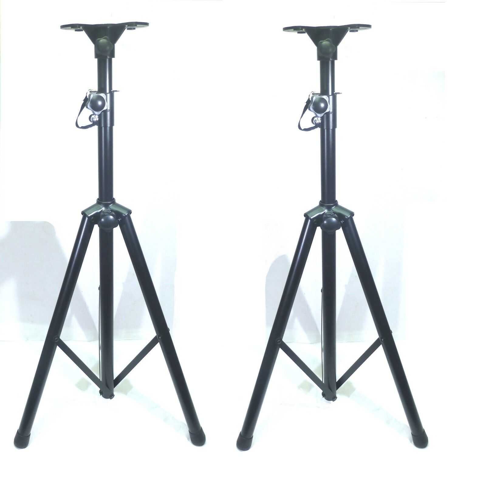 (2) Two  Adjustable Pole   Tripod Speaker Stand with Universal Mounting Base.