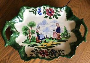 Hand Painted Porcelain Tray with Handles