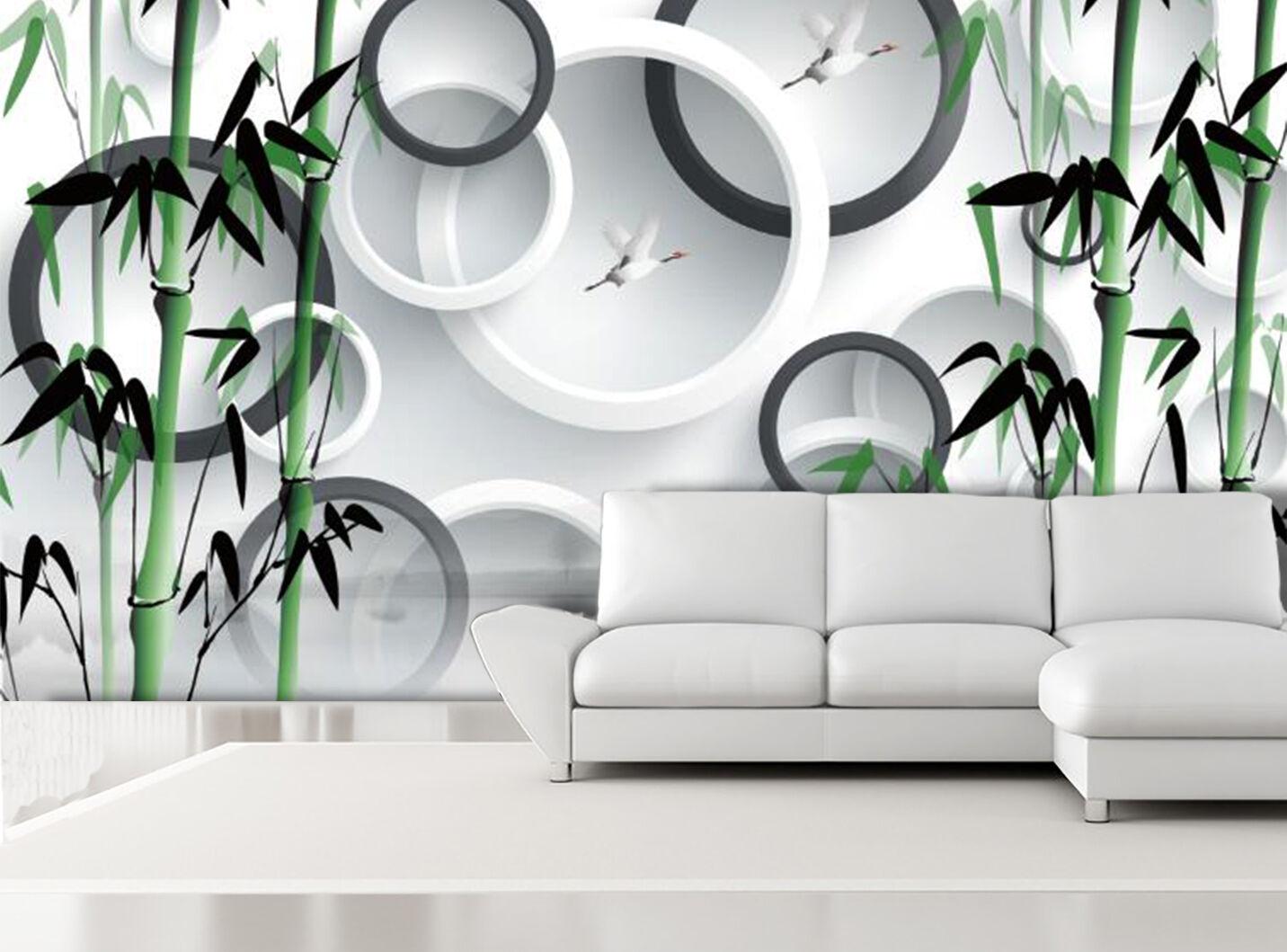 3D Bambù, rotondo Parete Murale Foto Carta da parati immagine sfondo muro stampa