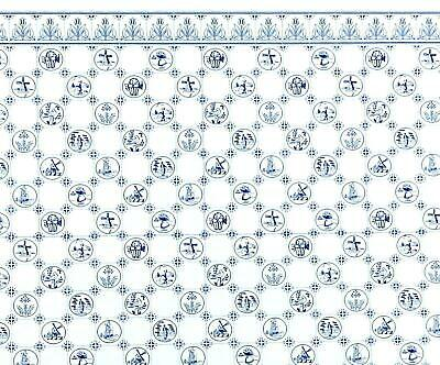 Melody Jane Dolls House Miniature Imprimer DELFT Dutch Bleu /& Blanc Carrelage Papier Peint