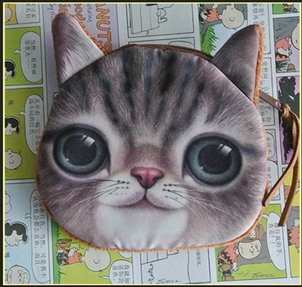 CHILDREN'S CUTE 3D CAT FACE ZIPPER CASE COIN PURSE WALLET MAKEUP BAG POUCH Newly