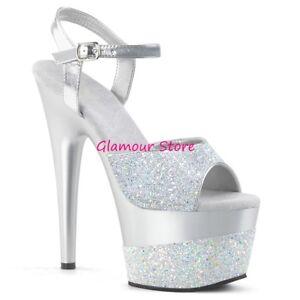 Sexy-SANDALI-GLITTER-tacco-18-dal-35-al-40-VARI-COLORI-plateau-scarpe-GLAMOUR