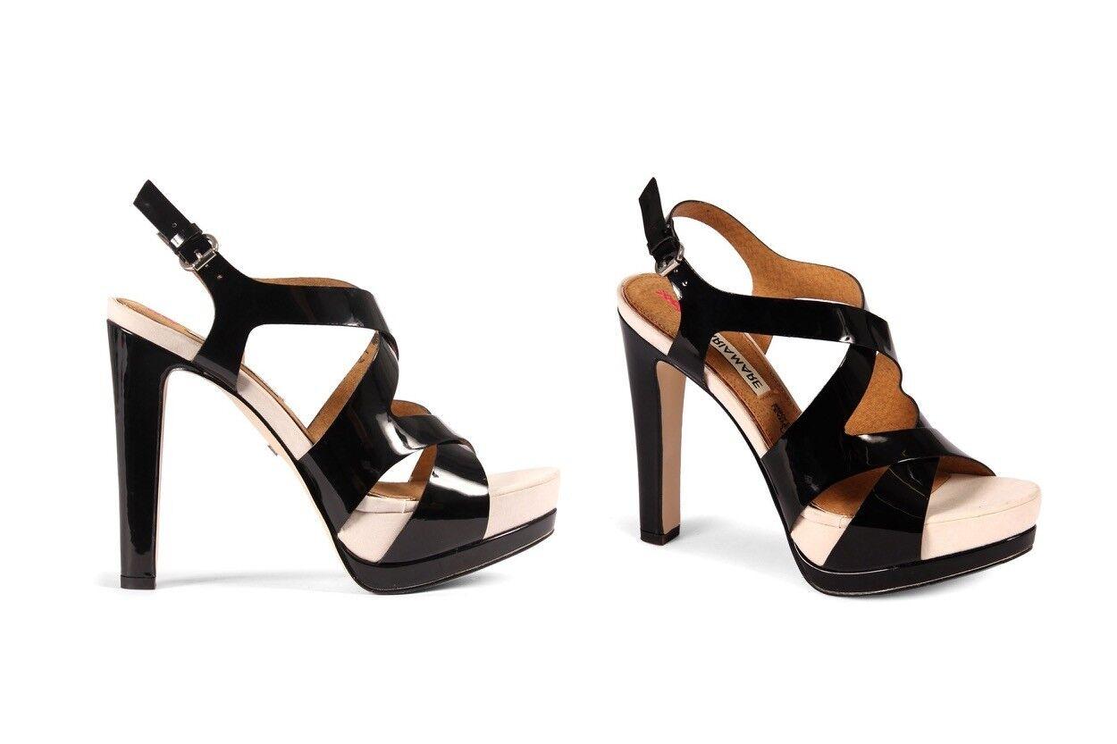 Sandalo sera sexy tacco alto e plateau in vernice Maria Mare nero n. 35
