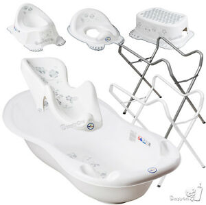 eule weiss set babybadewanne thermometer wanne badesitz baden mit ohne st nder ebay. Black Bedroom Furniture Sets. Home Design Ideas