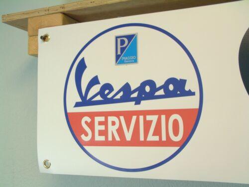 Vespa Servizio Scooter Banner vintage style Piaggio Genova Rally show display