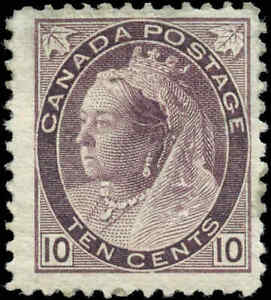 1893-Mint-Canada-F-Scott-83-10c-Queen-Victoria-Numeral-Issue-Stamp-Hinged