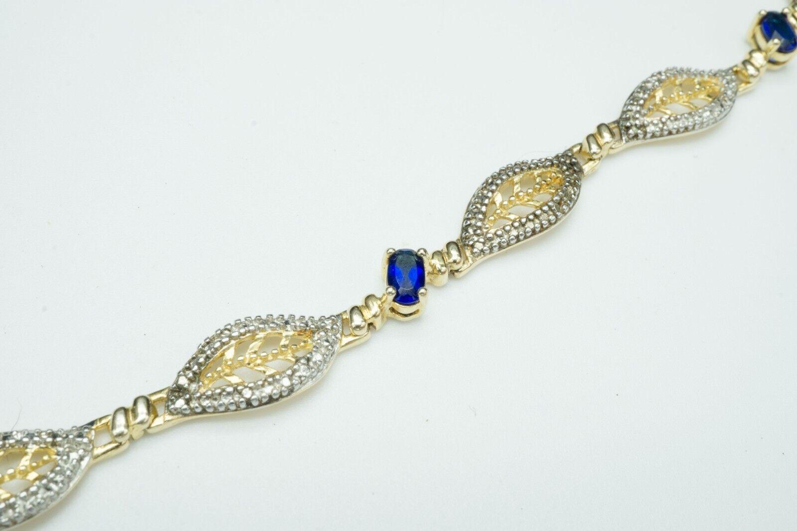 gold Plated .925 & Sapphire   Bracelet   Beautiful Intricate Design   Size 7(8g)