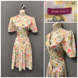 Emily-Rose-Dress-UK-12-EUR-40-US-8-Light-Grey-Floral-Retro