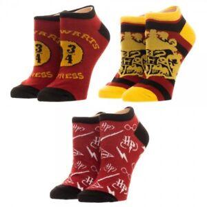 c825240129ee 3 Harry Potter Adult Ankle Socks Set Lot Gryffindor Hogwarts HP ...