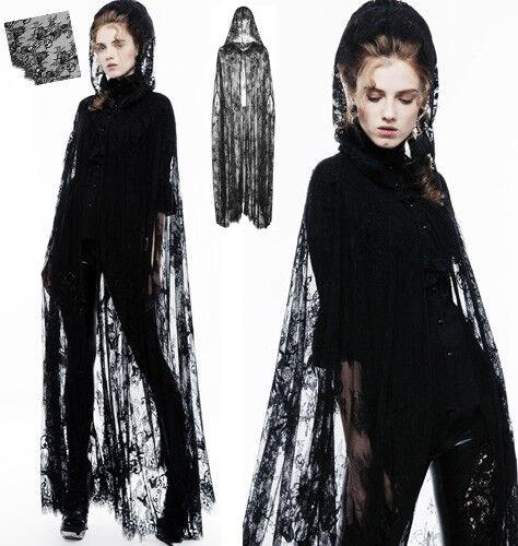 Cape longue dentelle veste gothique punk lolita mystique fleuri capuche PunkRave