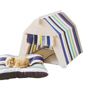 PLAYDO-Stripe-Washable-Summer-Kennel-Dog-Cat-House-Puppy-Pet-Teepee-Tent-Mat-Bed