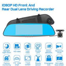 "7"" 1080P Car DVR Dual Lens Rear View Mirror Video Camera Recorder Dash Cam 170°"