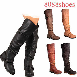 Women-039-s-Low-Heel-Round-Toe-Push-Stud-Slouchy-Knee-High-Riding-Boot-All-Size-NEW