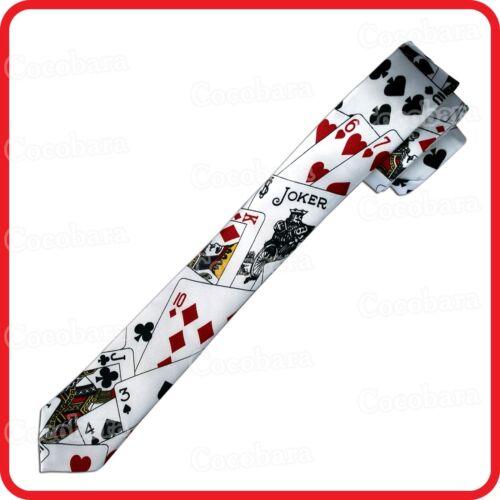 POKER LAS VEGAS PLAYING CARDS JOKER GAMBLER CASINO SKINNY NECKTIE TIE-COSTUME