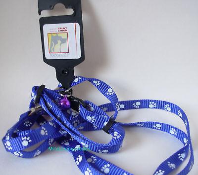 Gehoorzaam Laisse (120cm) + Collier (15-25cm) Bleu + Grelot Violet - Motifs Pattes