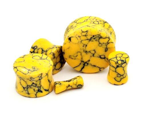 Yellow Howlite Stone Plugs set gauges PICK SIZE