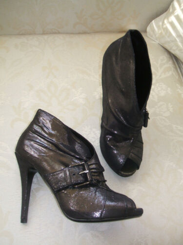 NEW GEORGE SIZE 4 5 6 6.5 BLACK PEWTER GREY CHARCOAL HIGH HEEL SHOE BOOTS SHOES