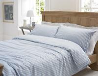 Blue & White Stripe Calgary Flannelette / Brushed Cotton Duvet Cover Set