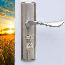 Modern European Entry Indoor Dual Latch Room Door Panel Locks Handle + Key