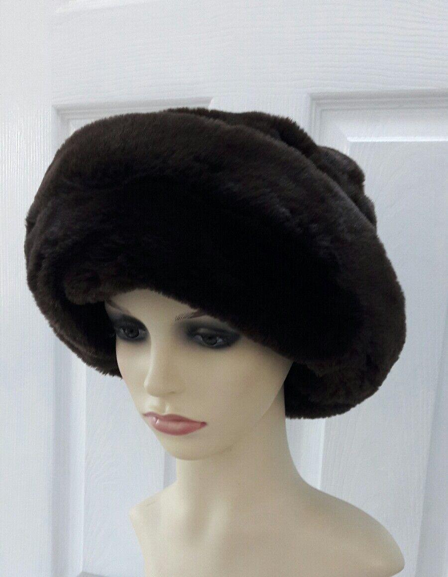 Marrón Imitación Piel Ruso Cosaco Invierno Cálido Sombrero De Esquí Glamour Cap Damas Talla S