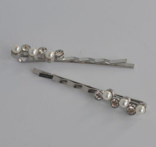 Bridal//wedding//party 2 x ivory pearl /& crystal//diamante row hair grips//slides