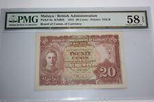 (PL) NEW: 20 CENTS KNB9b 1941 MALAYA / BRITISH ADMINISTRATION PMG 58 EPQ