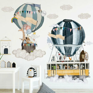 Hot-air-balloon-With-Animals-Clouds-Wall-Stickers-Kids-Nursery-Decor-Art-Decal