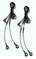 2) Electrode Cables For Aurawave Massagers - Use Snap Or Pin Pads