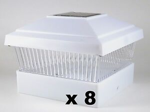 8 Solar Fence Post Cap Lights White For 5x5 Pvc Vinyl