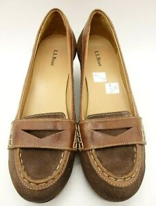 LL-Bean-Brown-Leather-Casual-Wedge-Slip-On-Penny-Loafers-Shoes-Women-039-s-7-5-M