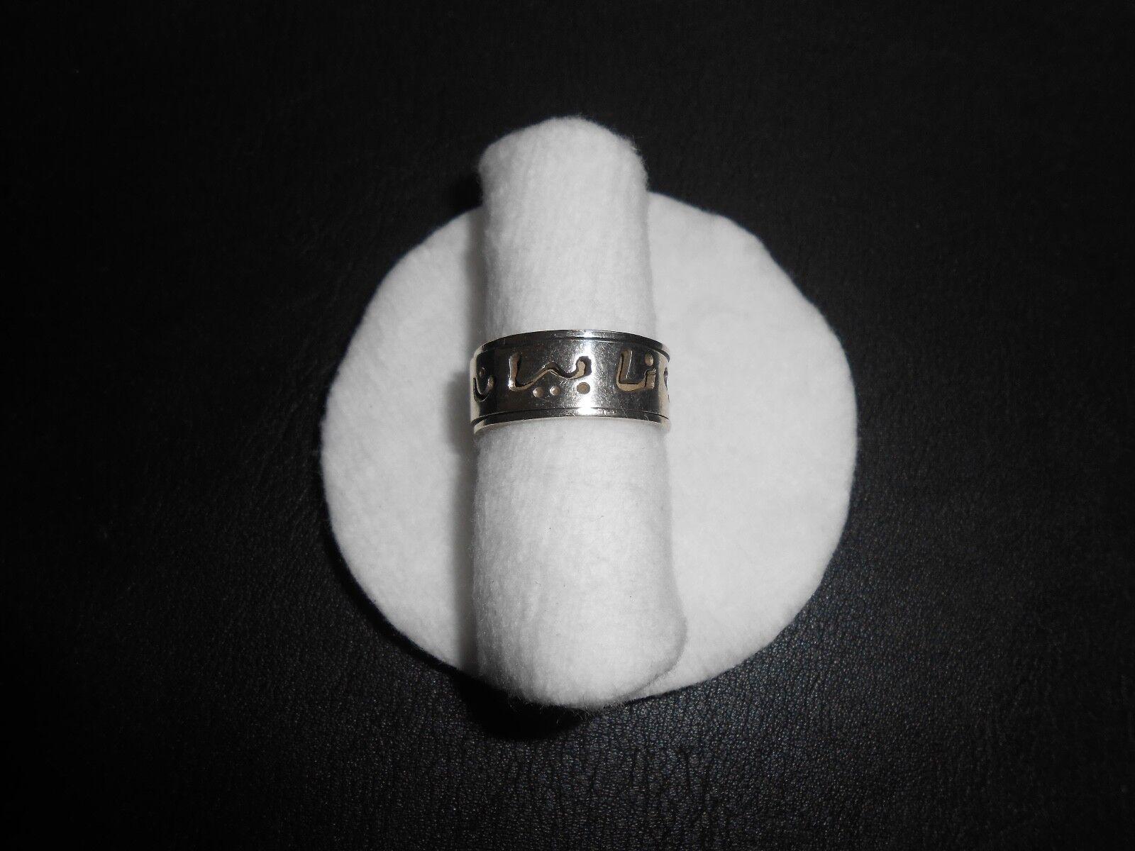 silverring Edelsteinring silver 925er Arabisch Drehbar Größe 52 (16,5 mm Ø)