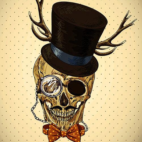 Steampunk Crâne Housse de coussin 16x16 pouces 40 cm vintage porte TOP HAT MONOCLE