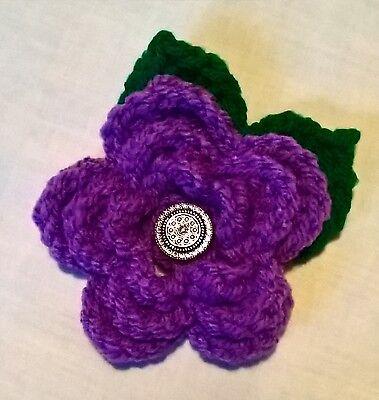 Foxy Flowers Hand Crochet Purple Flower - 10cm - Corsage/Brooch - Ideal Gift