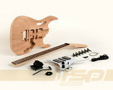 Solid Body Mahogany DIY Electric Guitar Builder Kit Project Dot Inlay Set In