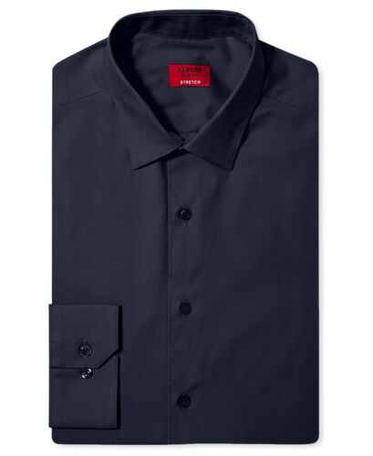 NWT $95 ALFANI Men/'s SLIM-FIT STRETCH BLUE LONG-SLEEVE DRESS SHIRT 16-16.5 34//35