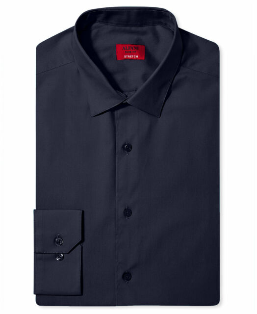NWT $95 ALFANI Men SLIM-FIT STRETCH WHITE LONG-SLEEVE DRESS SHIRT 15-15.5 32//33