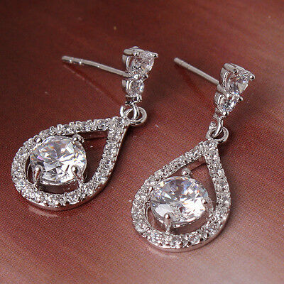 Shining Swarovski crystal luxury well-liked 18K White gold filled dangle earring