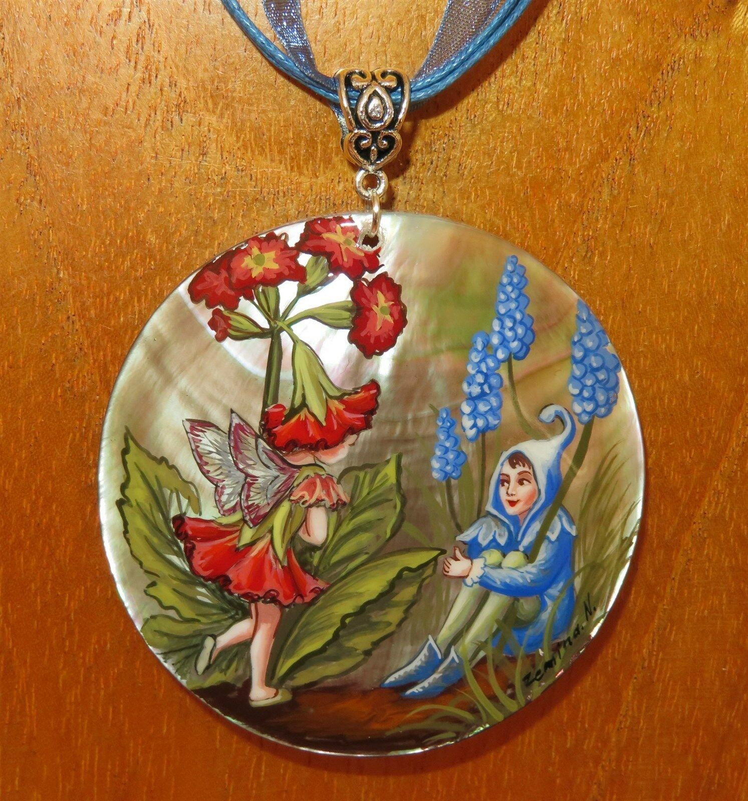 Pendant Shell Hand Painted The Polyanthus & Grape Hyacinth Fairies FLOWER FAIRY