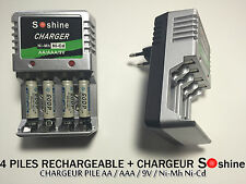 4 PILES ACCUS RECHARGEABLE AAA LR03 1.2V 1350mAh Ni-Mh + CHARGEUR SOSHINE 2016