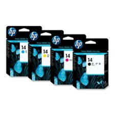 4 HP #14 Ink Printheads Full Set B/C/M/Y GENUINE NEW