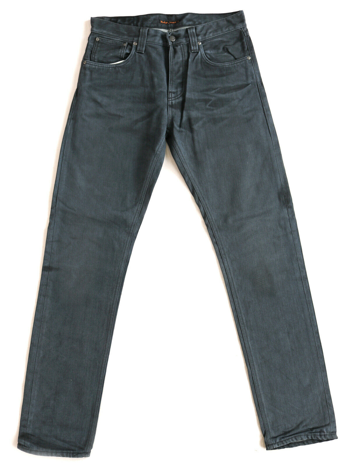 Nuovo Nudie Uomo Jeans Pantaloni Costante Eddie Regular Tapered Fit W32 L34