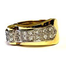14k yellow gold womens diamond cluster wave swirl .38ct ring 9.6g vintage estate